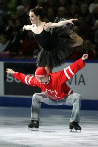 "London, Ontario.  January 17, 2010.  Tessa Virtue and Scott Moir perform their signature ""Goose"" lift during the Gala performance at the 2010 BMO Canadian Championships in London, Ontario. Photo by Mark Spowart"